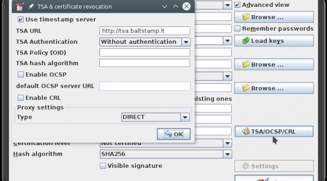 PDF dokumentų pasirašymas elektroniniu parašu kompiuteryje su Linux