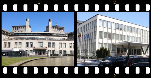 Kairėje – Tarptautinio baudžiamojo tribunolo buvusiai Jugoslavijai rūmai; dešinėje – Lietuvos Aukščiausiojo Teismo pastatas