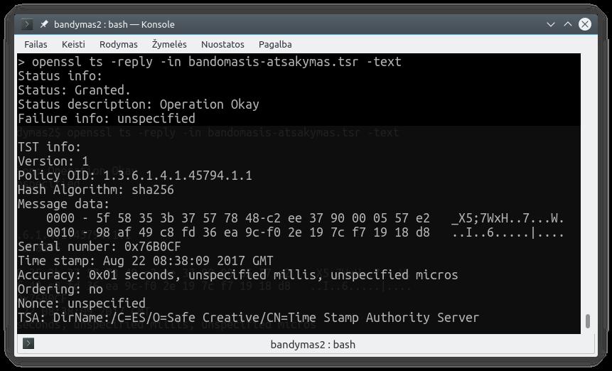 Laiko žymos peržiūra Linux terminale